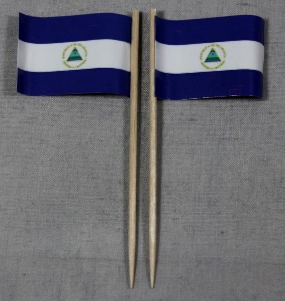 Party-Picker Flagge Nicaragua Papierfähnchen in Spitzenqualität 50 Stück Beutel