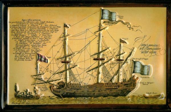 Blechschild Fregatte Kriegsschiff mit Erklärung der Fachausdrücke Schiff Schild