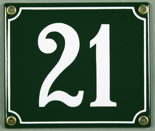 Hausnummernschild 21 grün 12x14 cm sofort lieferbar Schild Emaille Hausnummer Haus Nummer Zahl Ziffe