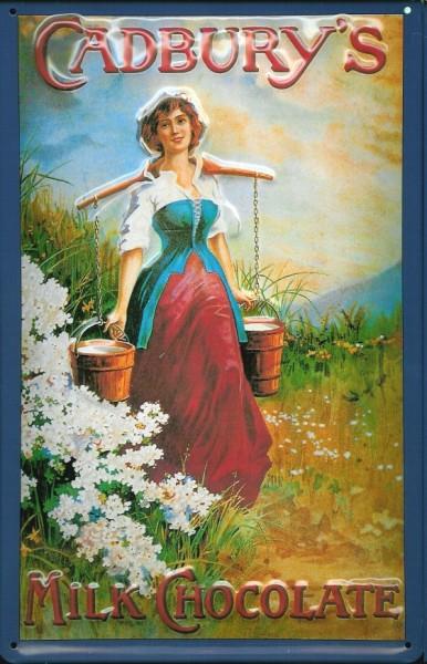 Blechschild Cadburys Milk Chocolate Frau mit Milcheimer Schild Milch Schokolade