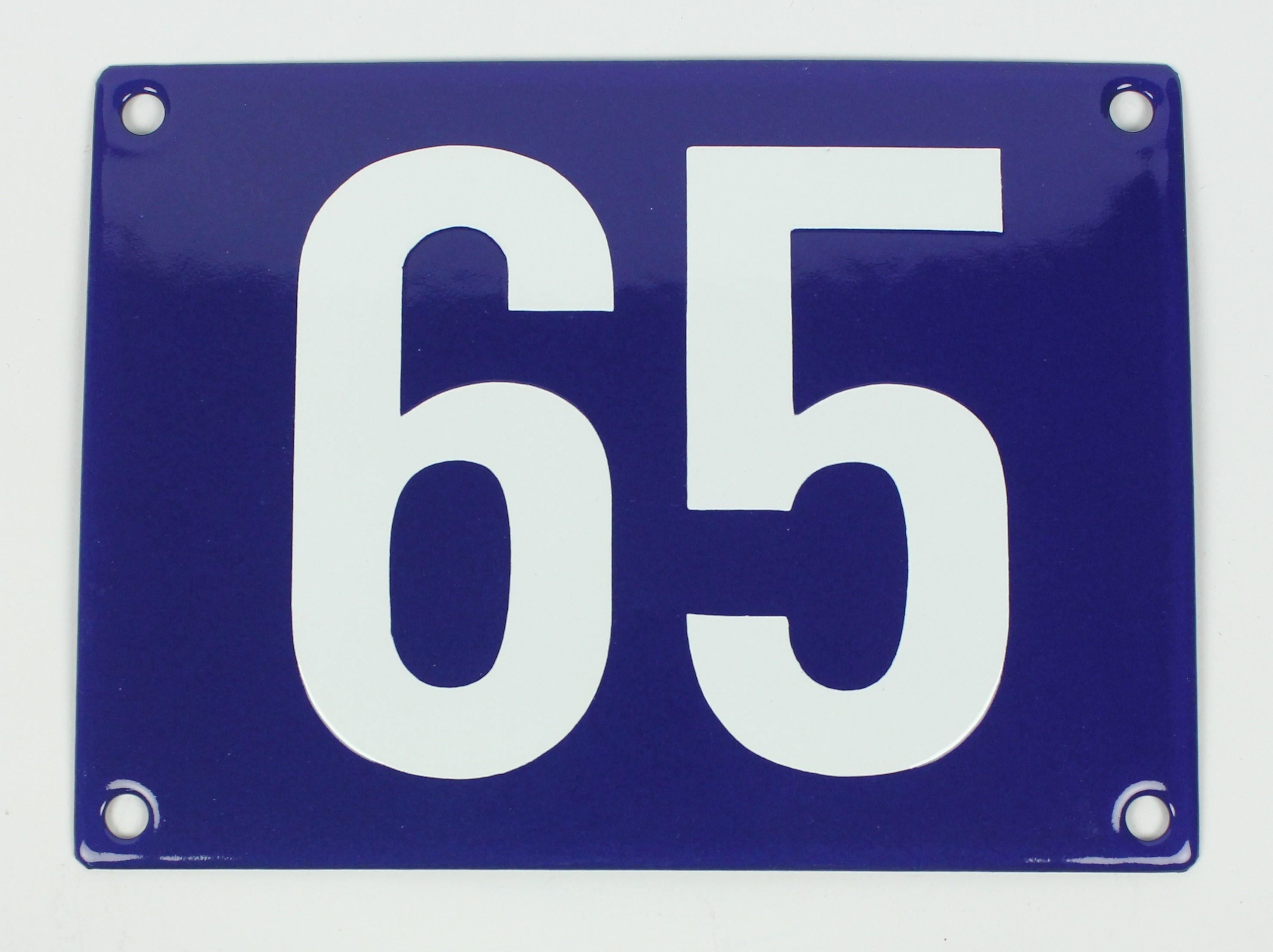 65 Ohne Rahmen blau Blockschrift 12x18 cm sofort lieferbar Schild ...