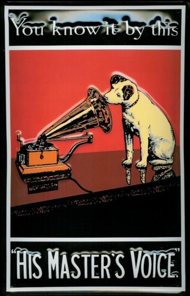 Blechschild Nostalgieschild His Masters Voice Hund Hochformat