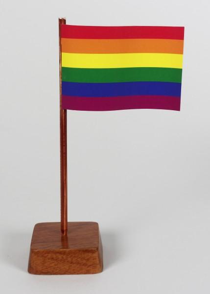 Mini Tischflagge Regenbogen Höhe 13 cm Tischfähnchen