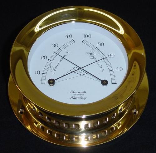 Schiffs Thermometer / Hygrometer 118 mm Messing schwer