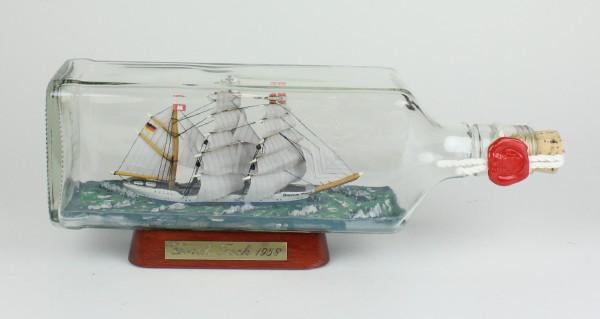 Gorch Fock eckige Ginflasche 0,7 Liter Buddelschiff Flaschenschiff