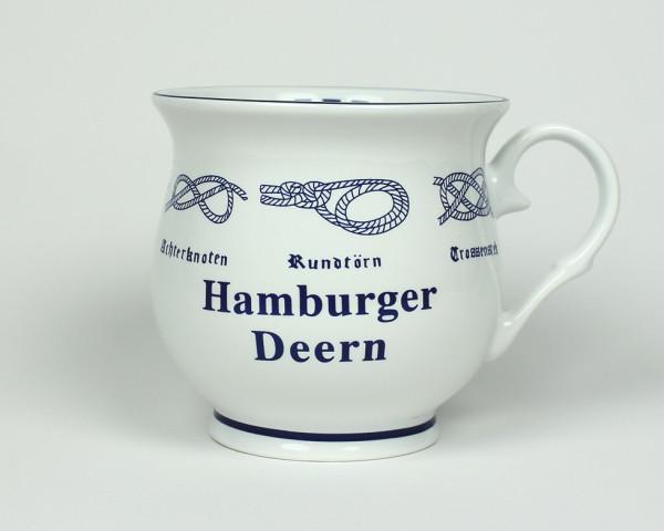 Hamburger Deern mit Seemannsknoten bauchig Kaffeebecher Kaffeetasse Kaffee Pott