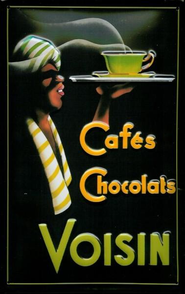 Blechschild Cafés Chocolats Voisin Kaffee Schokolade Schild Nostalgieschild