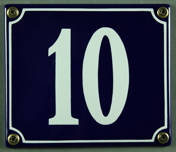 Hausnummernschild Emaille 10 blau - weiß 12x14 cm sofort lieferbar Schild Emaile Hausnummer Haus Num