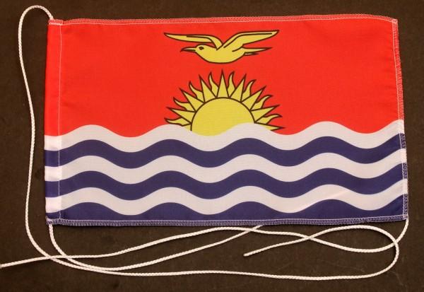 Tischflagge Kiribati 25x15 cm optional mit Holz- oder Chromständer Tischfahne Tischfähnchen
