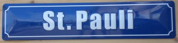 Strassenschild St. Pauli Hamburg aus Stahlblech Schild 46x10 cm Stadtteil Souvenir Andenken