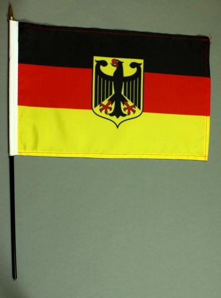 Tischflagge Deutschland Adler Dienstflagge 20x30 cm optional mit Tischflaggenständer aus Mahagoni Ho