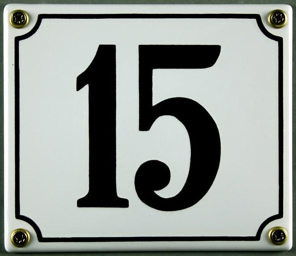 Hausnummernschild 15 weiß 12x14 cm sofort lieferbar Schild Emaille Hausnummer Haus Nummer Zahl Ziffe
