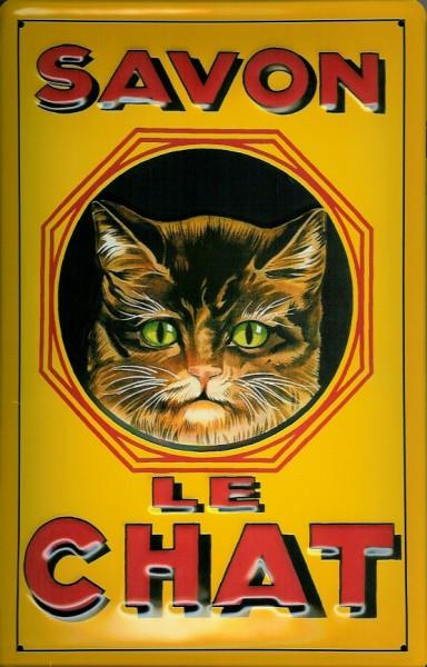 Blechschild Savon le Chat Katze Kater Schild Nostalgieschild