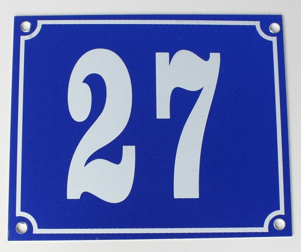 Hausnummernschild Aluminium Aluschild 1 mm Stärke Alu Schild Nr. 27 blau