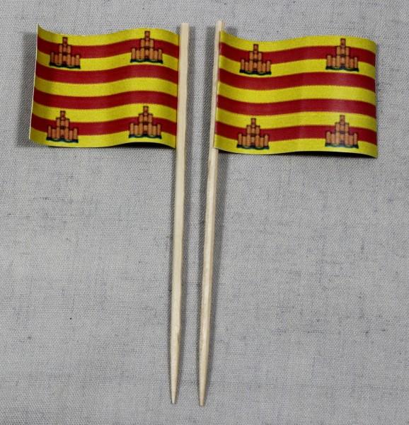 Party-Picker Flagge Ibizza Formentera Spanien Papierfähnchen in Spitzenqualität 50 Stück Beutel