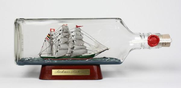 Rickmer Rickmers eckige Ginflasche 0,7 Liter Buddelschiff Flaschenschiff