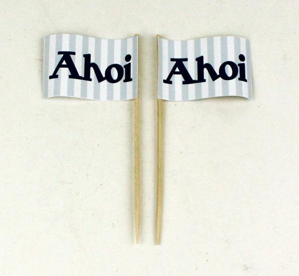 Party-Picker Flagge Ahoi blau weiß Papierfähnchen in Spitzenqualität 50 Stück Beutel