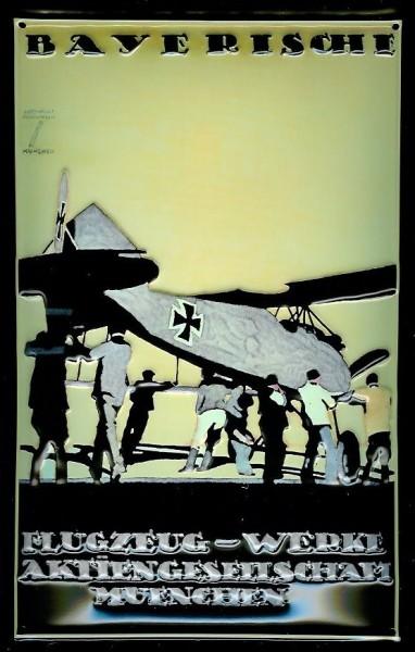 Blechschild Bayerische Flugzeug Werke München Schild Nostalgieschild