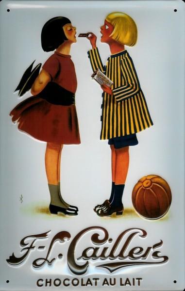 Blechschild Cailler Schokolade Chocolat au Lait 2 Kinder Schild Nostalgieschild