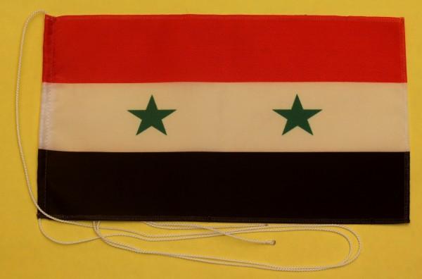 Tischflagge Syrien 25x15 cm optional mit Holz- oder Chromständer Tischfahne Tischfähnchen