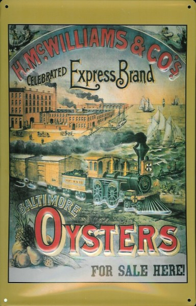 Blechschild Baltimore Oysters Austern USA retro Schild Nostalgieschild