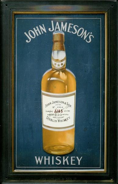 Blechschild John Jameson Whiskey Flasche blau Whisky retro Schild nostalgische Werbung