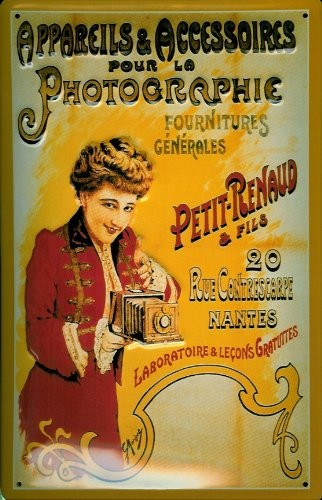 Blechschild Photographie Petit Renaud Kamera Schild Nantes Frankreich Nostalgieschild