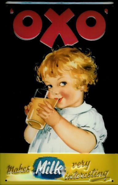 Blechschild OXO makes milk very interesting Milch Werbeschild Schild