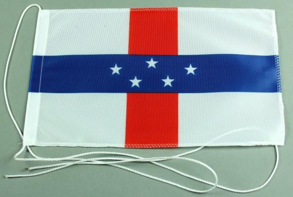 Tischflagge Niederländisch Antillen 25x15 cm optional mit Holz- oder Chromständer Tischfahne Tischfä