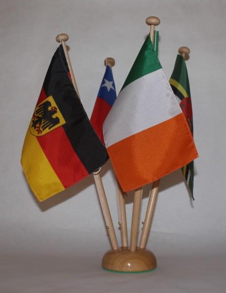 Tischflaggenständer Holz 4-fach in Profiqualität, Höhe 42 cm für 15x25cm Tischflaggen Tischfahne