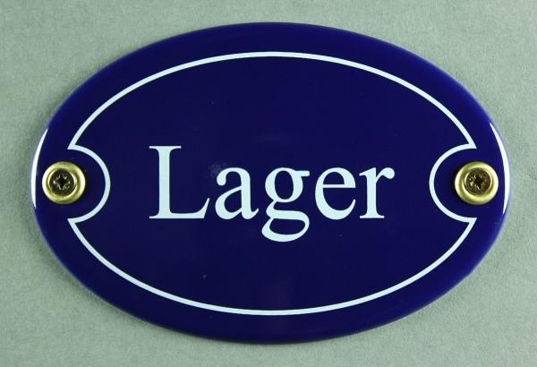 Emaille Türschild Lager blau oval Schild Emailleschild Metallschild Blechschild