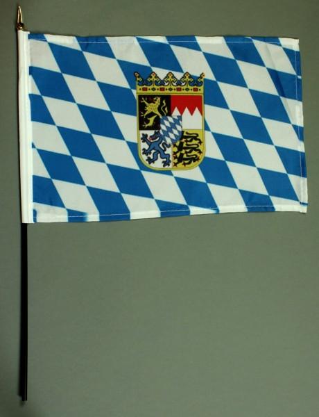 Tischflagge Bayern mit Wappen und Raute 20x30 cm optional mit Tischflaggenständer aus Mahagoni Holz