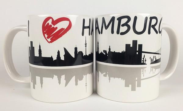 Hamburg Kaffeebecher I Love Hamburg Skyline Souvenir Kaffeetasse Kaffee Becher Andenken