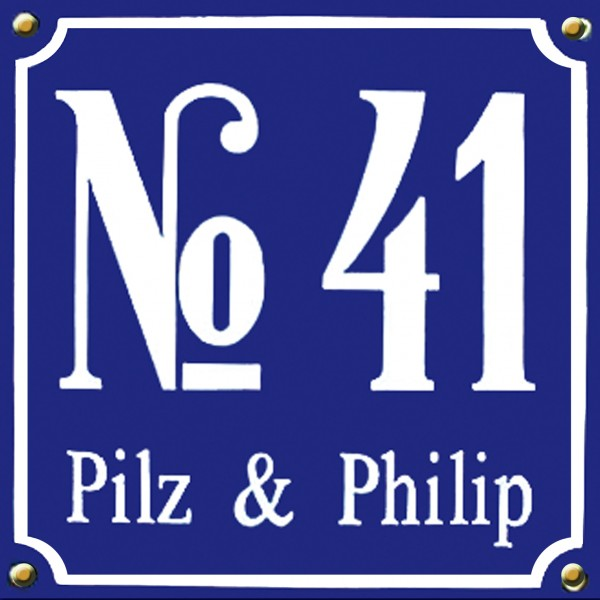 Kombi groß Emaille Hausnummernschild mit Wunschzahl / Text 25x25 cm Hausnummer