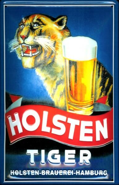 Blechschild Holsten Tiger Bier Hamburg Schild retro Nostalgieschild