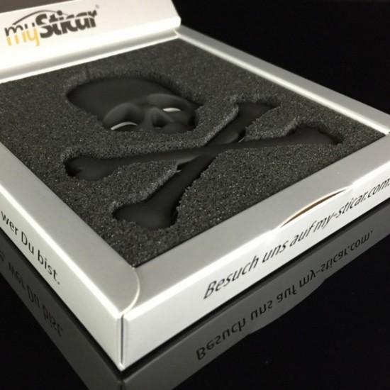 """Qualitäts 3D Autoaufkleber SCHWARZ """"Totenkopf"""" Metall Emblem Matt Black Sticker Auto"""