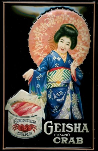Blechschild Geisha Brand Crab Krebse Krebs Retro Schild Nostalgieschild