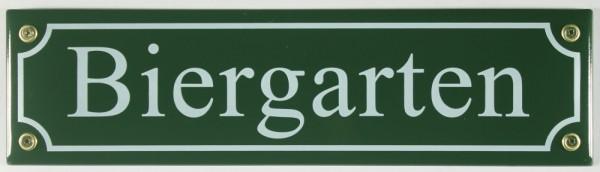 Strassenschild Biergarten grün 30x8 cm Bier Garten Emaille Schild Emaile Andenken