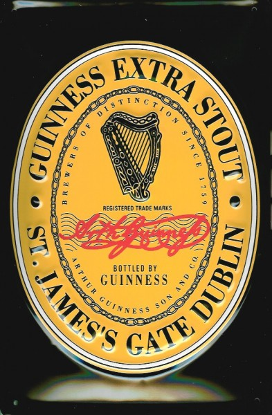 Blechschild Guinness Beer Black Label Logo Harfe Bier Werbung Schild nostalgisches Reklameschild
