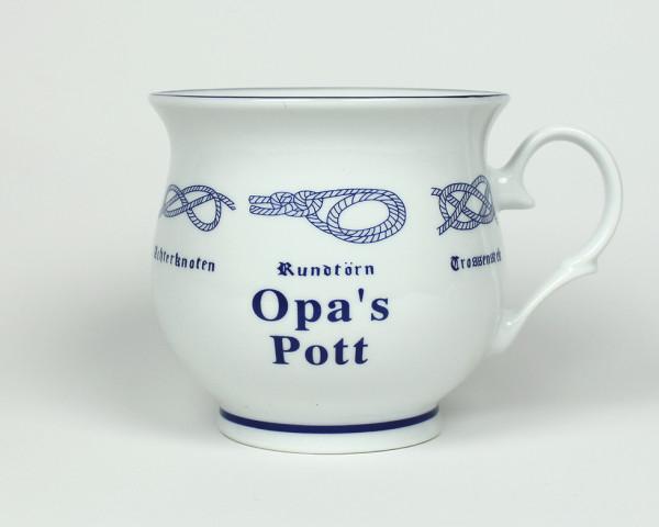 Opa´s Pott mit Seemannsknoten bauchig Kaffeebecher Kaffeetasse Kaffee Pott