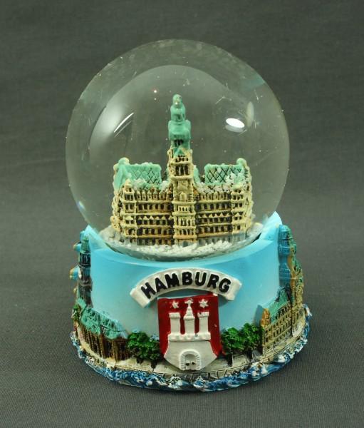 Schneekugel mit Rathaus Hamburg 6x4,5 cm Schüttelkugel Glitzerkugel klein