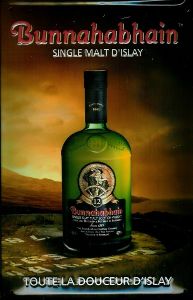 Blechschild Bunnahabhain Single Malt Scotch Whisky Schild retro Werbung Nostalgieschild