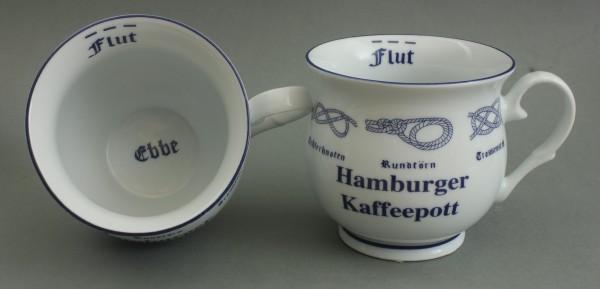 Hamburger Kaffeepott mit Seemannsknoten bauchig Kaffeebecher Kaffeetasse Kaffee Pott