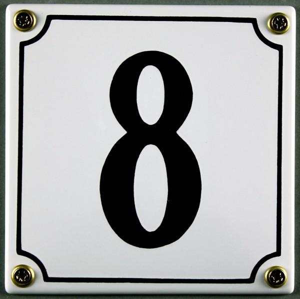 Hausnummernschild 8 weiß 12x12 cm sofort lieferbar Schild Emaille Hausnummer Haus Nummer Zahl Ziffer