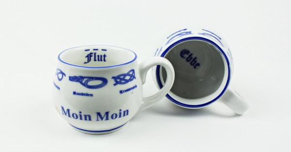 2er Set Moin Moin Pöttchen mit Seemannsknoten bauchig Mini Becher Schnapsglas