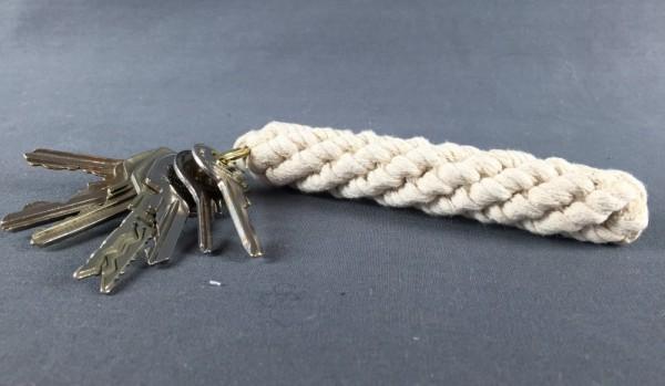 Schlüsselanhänger Bändsel weiß 14,5 cm mit Schlüsselring Tauwerk Seemannsknoten
