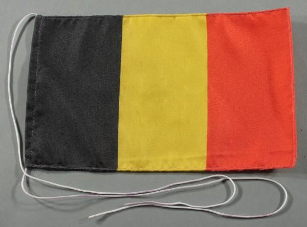 Tischflagge Belgien 25x15 cm optional mit Holz- oder Chromständer Tischfahne Tischfähnchen