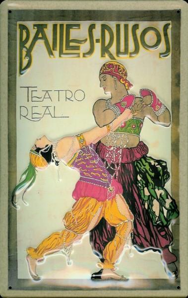 Blechschild Nostalgieschild Bailes Rusos Tänzerin Teatro Real