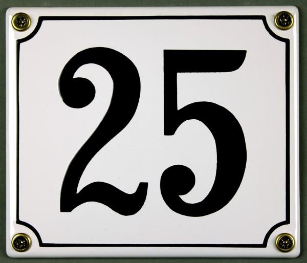 Hausnummernschild 25 weiß 12x14 cm sofort lieferbar Schild Emaille Hausnummer Haus Nummer Zahl Ziffe