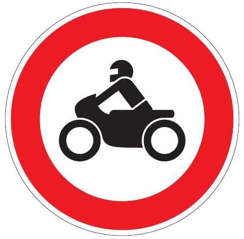 Verkehrsschild / Verkehrszeichen Verbot für Krafträder 420 mm rund Aluminium reflektierend Typ 1 VZ